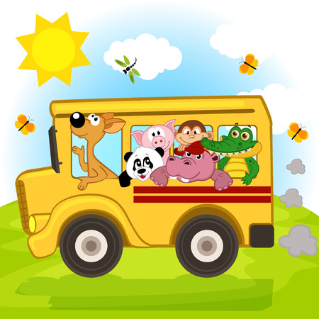 animals on the bus illustration Vector