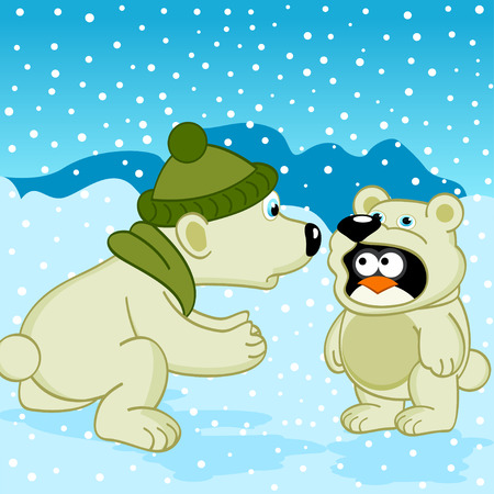 polar bear penguin dressed as bear  -  vector illustration, eps Vector