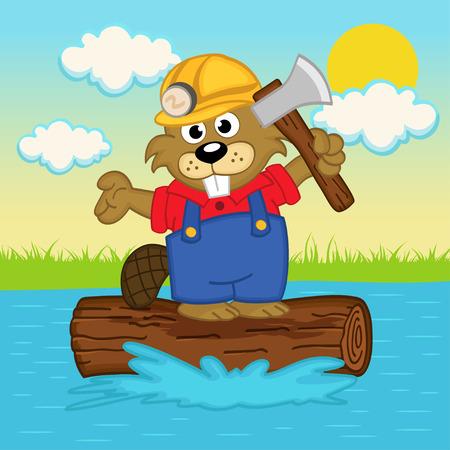 beaver on log illustration Vector