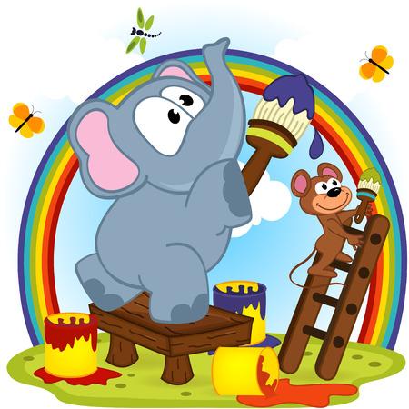 cartoon rat: elephant and mouse draw rainbow - vector  illustration, eps