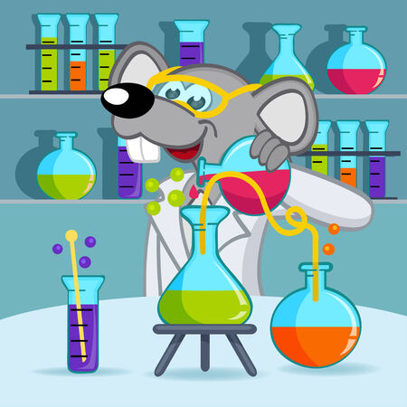 cartoon mouse: mouse scientist - vector  illustration, eps Illustration
