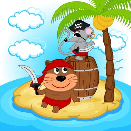 cat and mouse pirate illustration Vector
