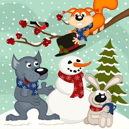 sculpt: animals make snowman - vector  illustration, eps Illustration
