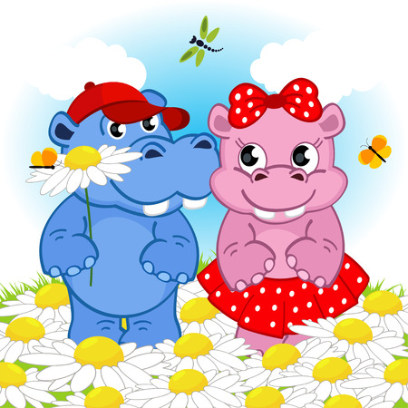 amorousness: hippo boy gives flower girl - vector illustration, eps