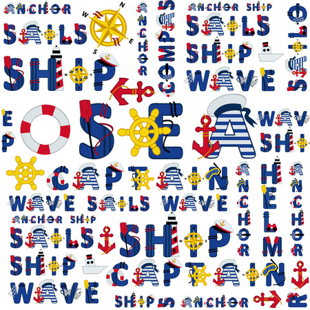 captain cap: seamless sea pattern of words - vector illustration, eps