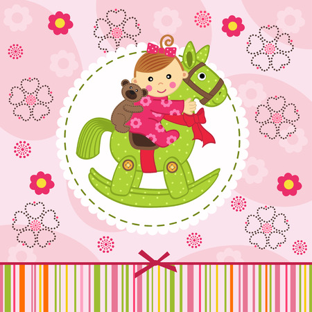 rocking: baby girl with bear on horse