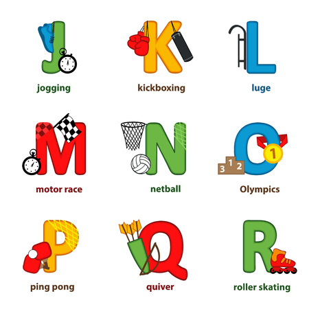 luge: alphabet sport from J to R - vector illustration, eps