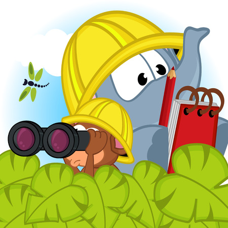 archaeologist: elephant and mouse explorer - vector illustration, eps