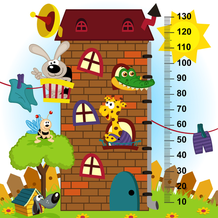 tallness: house height  measure (in original proportions 1:4) - vector illustration, eps