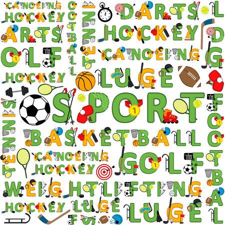 luge: seamless sport pattern of words - vector illustration, eps