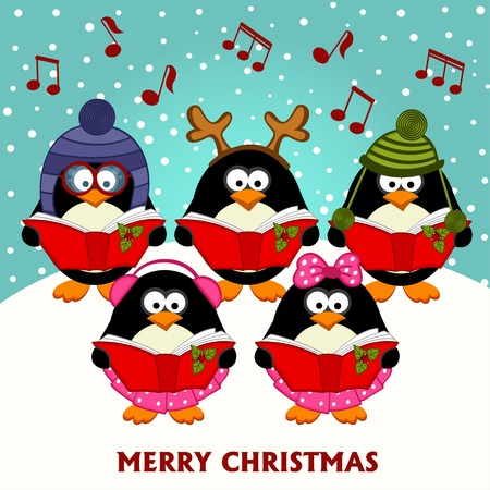 pinguinos navidenos: Pingüinos del coro de Navidad - ilustración vectorial, eps