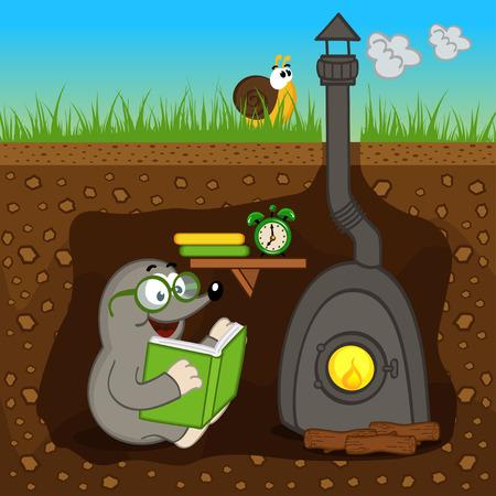 mole reading book at home - vector illustration, eps Illustration