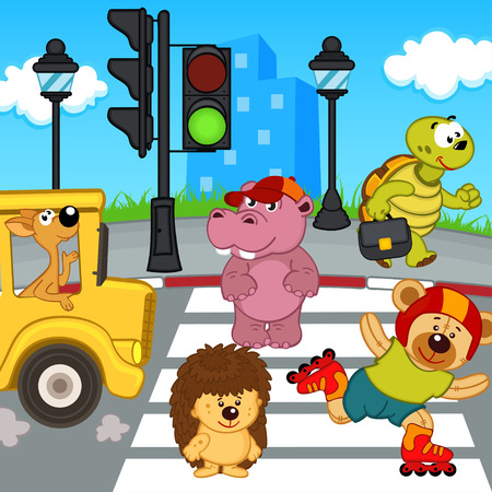 zoo traffic: animal, crosswalk, road, pedestrian, street, hedgehog, bear, videos, lights, traffic lights, kangaroos, crossing, lane,   green, sign, zoo, cartoon, vector, hippo, scene, tortoise, mammal, terrapin, illustration, turtle, eps, printable,   postcard, serie