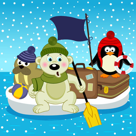 floe: polar bear walrus penguin travel on floe - vector illustration, eps