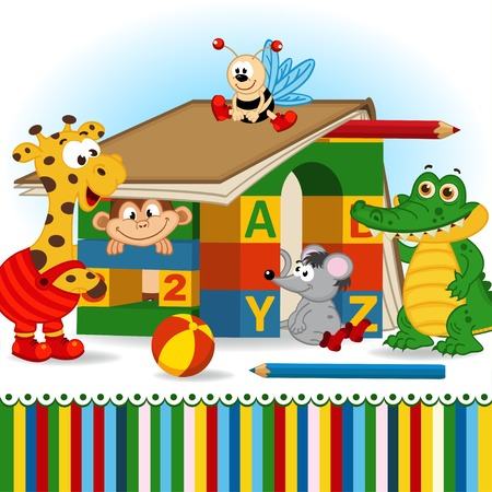 animals built house out of baby blocks - vector illustration, eps Vector