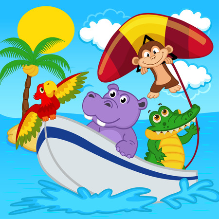 animals on boat ride with monkey on hang glider - vector illustration, eps Vectores