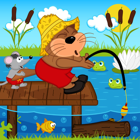 cat fish: cat mouse fishing - vector illustration, eps Illustration