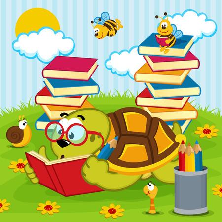 gusano caricatura: Libro de lectura de la tortuga - ilustración vectorial, eps