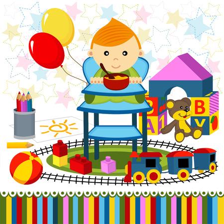 highchair: baby boy highchair - illustration