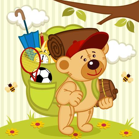 teddy bear goes hiking - vector illustration, eps Vector