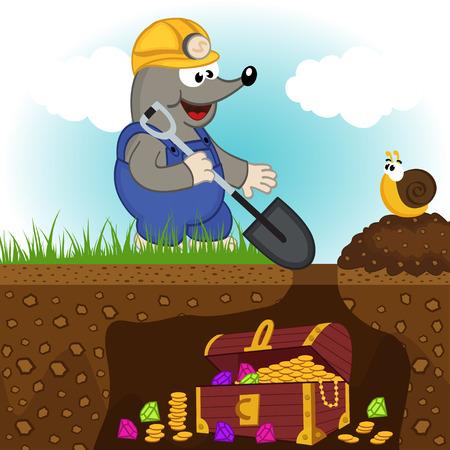 gold shovel: mole digs treasure - vector illustration, eps