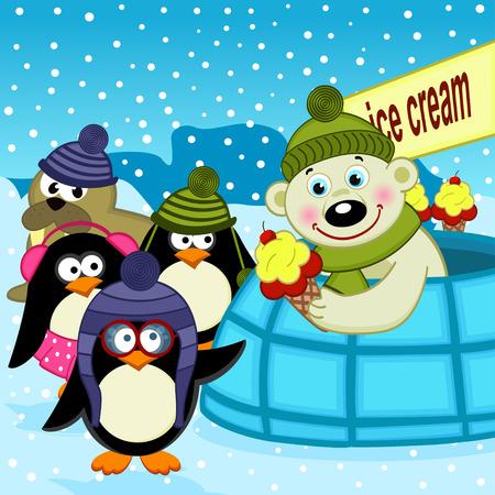 polar bear on the ice: polar bear ice cream seller - vector illustration, eps