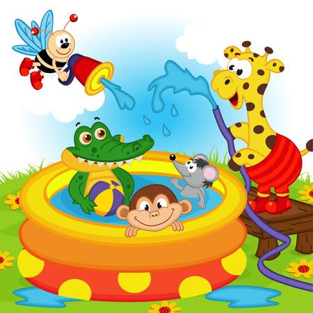 girotondo bambini: animali in piscina gonfiabile - illustrazione vettoriale, eps