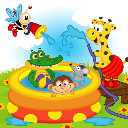 children swimming: animals in inflatable pool - vector illustration, eps