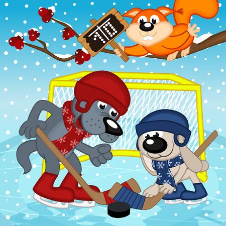 arbitrator: wolf rabbit play hockey - vector illustration, eps