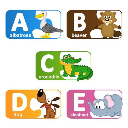alfabeto con animales: pegatinas alfabeto animales de A a E - ilustraci�n vectorial, eps Vectores