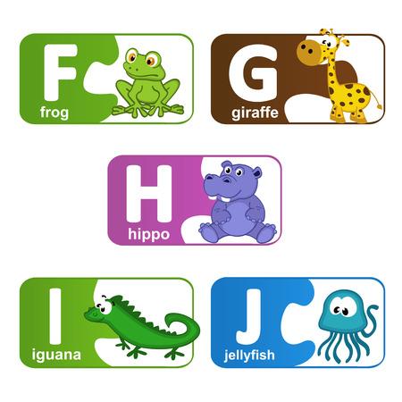 alfabeto con animales: pegatinas alfabeto animales de F a J - ilustraci�n vectorial, eps
