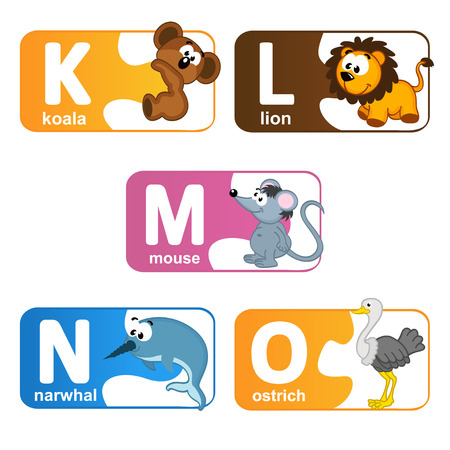 literate: stickers alphabet animals from K to O - vector illustration, eps
