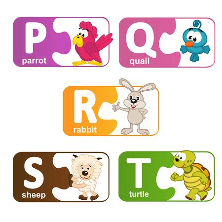 alfabeto con animales: pegatinas alfabeto animales de P a T - ilustraci�n vectorial, eps Vectores