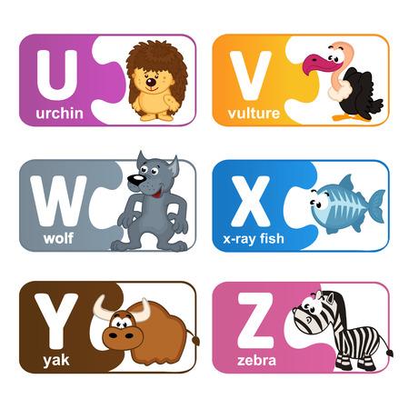 alfabeto con animales: pegatinas alfabeto animales de U a la Z - ilustración vectorial, eps