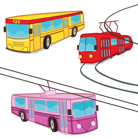 tramway: trolleybus tram bus isolated - vector illustration, eps Illustration