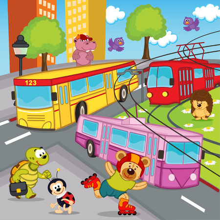 trolleybus: animals trolleybus tram bus - vector illustration, eps Illustration