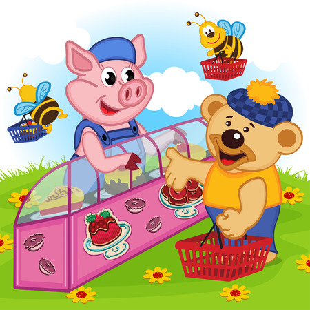 countertop: pig seller of cakes - vector illustration, eps