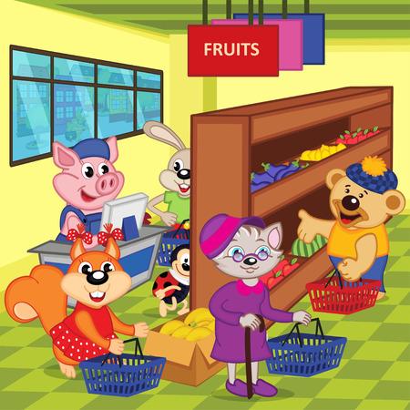 grocery store series: animals in supermarket - vector illustration, eps Illustration