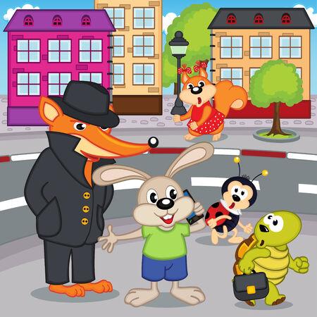 passerby: fox gangster in city - vector illustration, eps Illustration