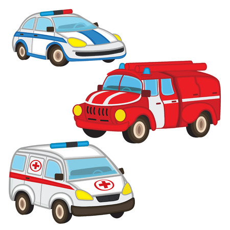 cartoon safety: police fire ambulance - vector illustration Illustration