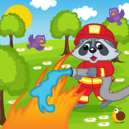 disaster prevention: raccoon firefighter extinguishes fire in forest - vector illustration, eps
