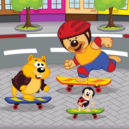 catarina caricatura: animales en patinetas - ilustraci�n vectorial
