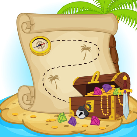pirate cartoon: treasure map and treasure chest on island - vector illustration, eps