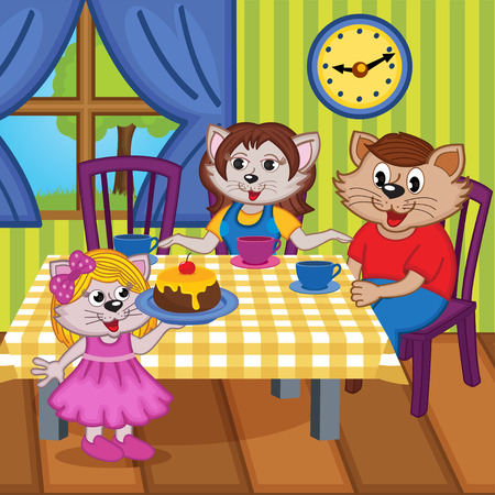 family cats eat cake together - vector illustration, eps Vector