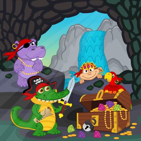 treasure box: pirates found treasure in a cave - vector illustration, eps