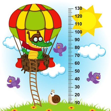 tallness: balloon height measure(in original proportions 1 to 4) - vector illustration Illustration