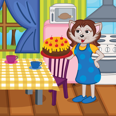 mother cat baked a cake in kitchen - vector illustration Vector