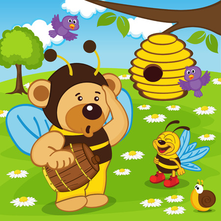 apiculture: teddy bear dressed as bee goes for honey - vector illustration, eps