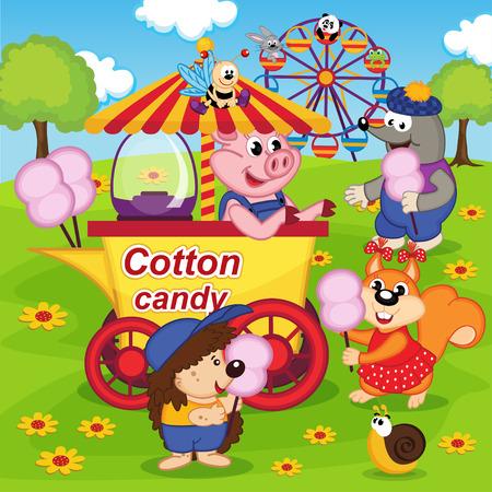 algodon de azucar: animales comen algodón de azúcar en el parque de diversiones - ilustración vectorial, eps