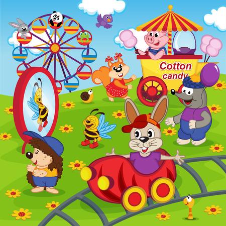 cartoon hare: animals in amusement park - vector illustration